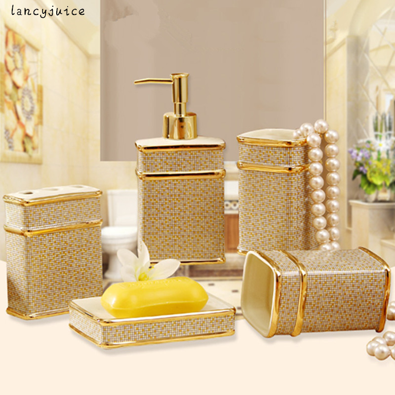 ivory porcelain bathroom sets with gift box porcelain mosaic design five piece set accessories elegant bathroom sets gifts