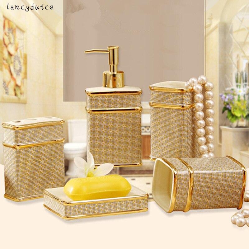 Ivory Porcelain bathroom sets with gift box porcelain five ...