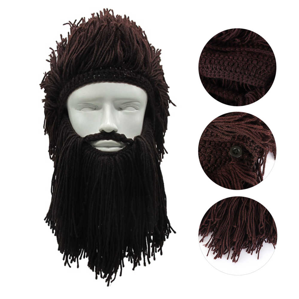 e747c43795f Winter Warm Creative Barbarian Beanie Hat Halloween Cosplay Costume Unisex Knitted  Wig Viking Beard Hat Funny