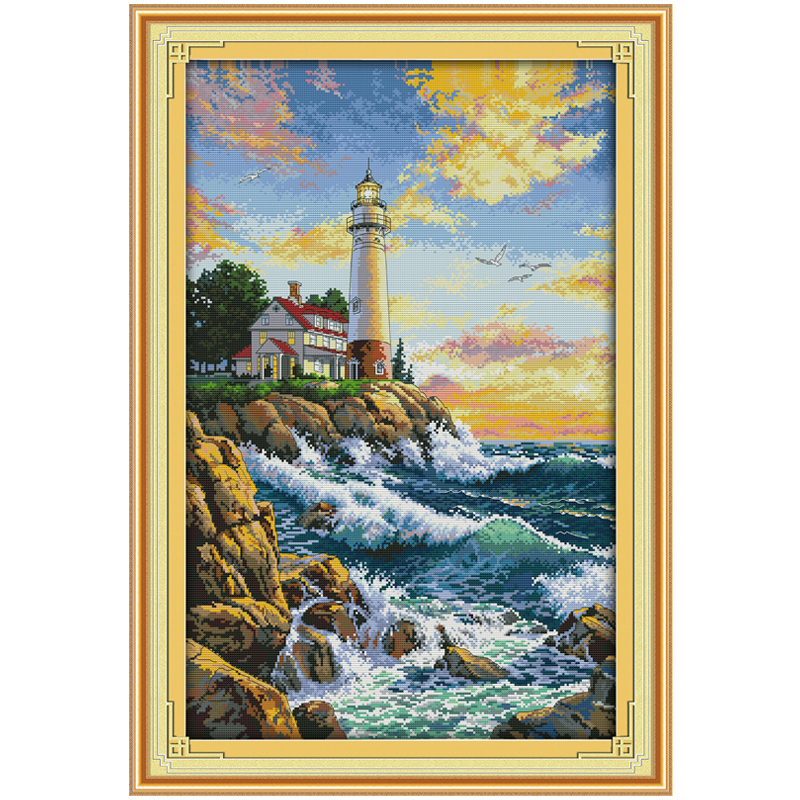 14/16/18/27/28 The Lighthouse Counted Cross Stitch  Picture Cross Stitch Set Landscape Cross-stitch Kit Embroidery 2th
