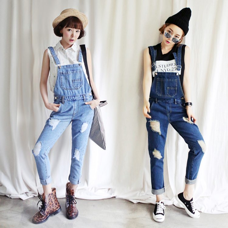 Salopette New Women High Quality Denim Dungarees Holes Jeans Jumpsuit Denim Overalls Casual Skinny Girls Pants Jeans c0023 harajuku new fashion women casual high waisted casual holes skinny jeans