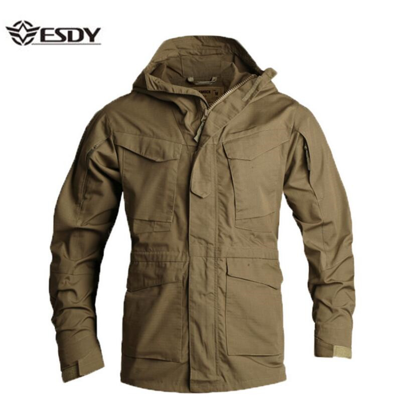 все цены на ESDYMen's Jacket US Army Climbing Tactical Clothing UK M65 Fall Winter Flight Pilot hooded Coat Field Outdoor Hiking Windbreaker