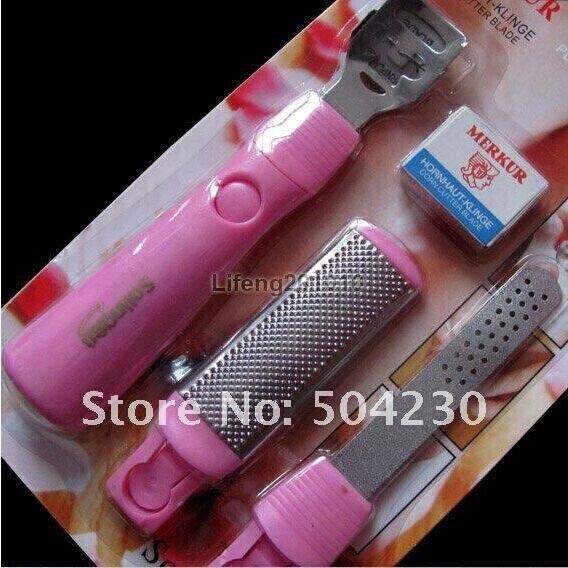 3-in-rosa Piede Calli Remover & Raspa File Callus Corn Cuticola Cutter Remover Rasoio Strumento Di Pedicure Cura Strumento Con 10 Lame
