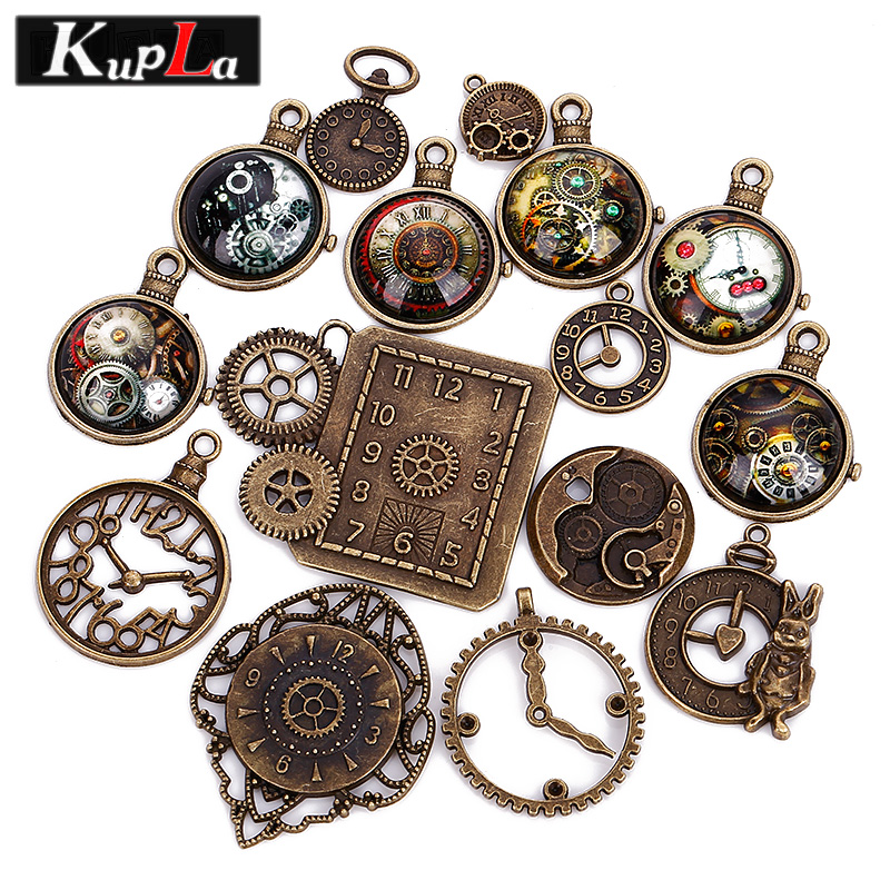 Vintage Wire Chain Jewelry Making Brass Chain Custom: Vintage Charms Metal Mixed Clock Charms For Jewelry Making