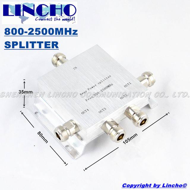 4 way n type high power gsm power splitter 800-2500MHz signal booster repeater divider