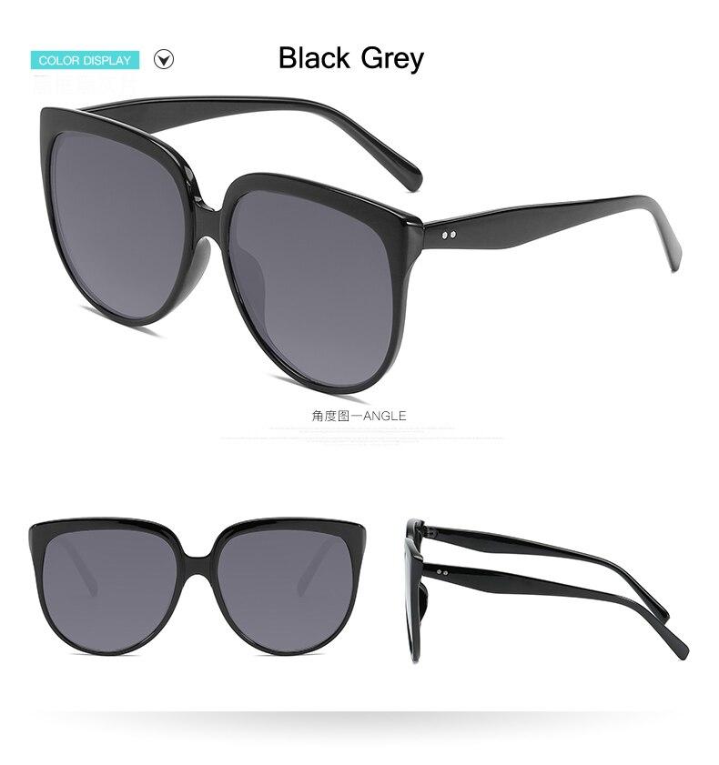 f857c9f84376b Oversized Sunglasses Women Brand Designer CatEye Retro Black ...