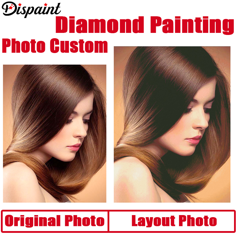 Dispaint Photo Custom Diamond Painting Cross Stitch Full Square/Round Rhinestone DIY Diamond 3D Diamond Embroidery Gift Sale(China)