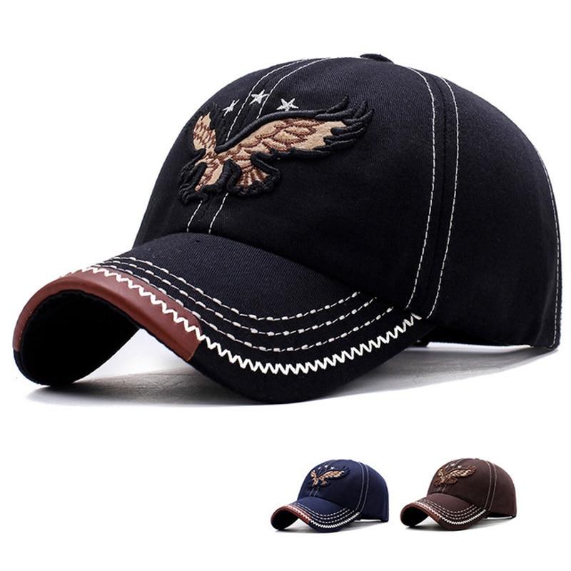 Eagle Balck Man Adjustable   Baseball     Cap   Cotton Outdoor Solid Hats Embroidery Sports Running   Cap   Bones Cotton Casual Dad Hat