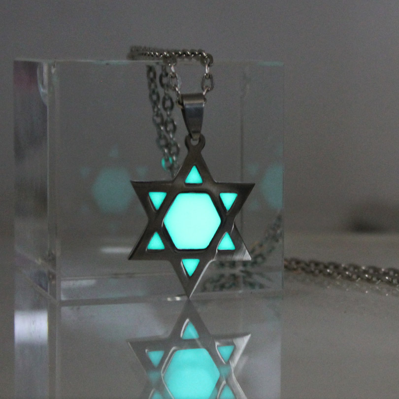 <font><b>Glowing</b></font> <font><b>Necklace</b></font> Star of David <font><b>Necklace</b></font> stainless steel Tantrism Hexagram <font><b>Necklace</b></font> GLOW <font><b>in</b></font> <font><b>the</b></font> <font><b>DARK</b></font> night gifts men women girl image