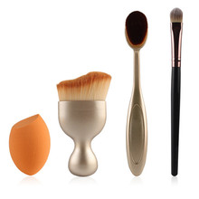 4pcs/Set Makeup Brushes Set:Oval Toothbrush Makeup Brush+Foundation Powder Brushes+Cosmetic Puff+Eye Shadow Blush Brush Cosmetic