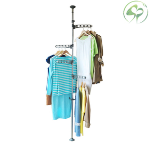Image 1 - Floor to Ceiling Coat Rack Clothes Drying with Standing Type Clothing Hanger Free Standing With 4 Hooks Wood Tree Coat Rack