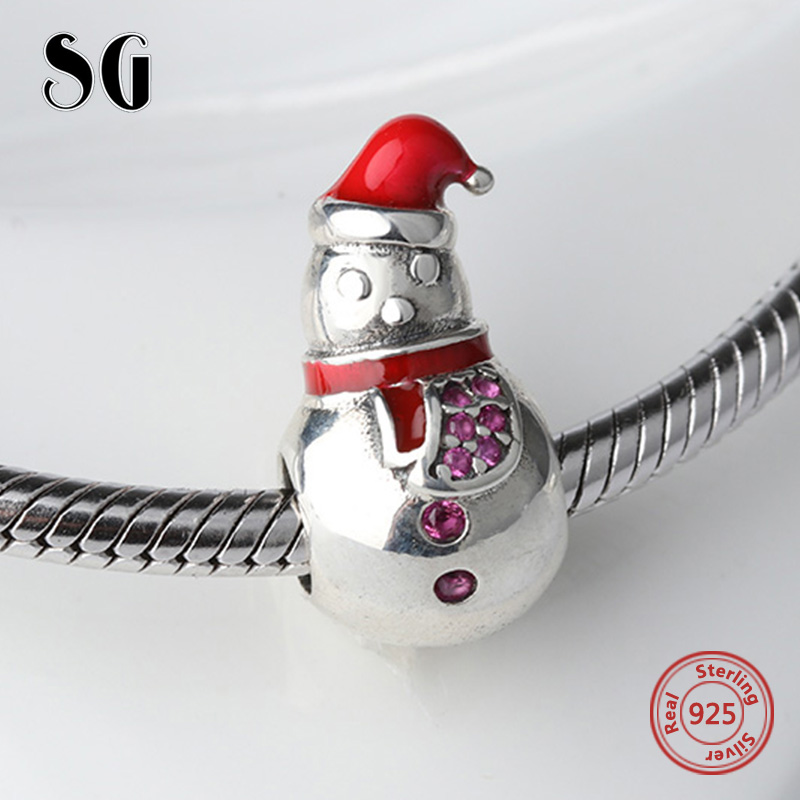 Fit pandora charm Bracelets silver 925 Original cute snowman charms with red enamel hat diy Beads&Jewelry making for women Gifts