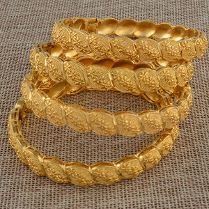 Image 5 - Anniyo Middle East Arab Dubai Bangle Bracelet for Women African Gold Color Jewelry Trendy Gifts (4PCS/LOT) #117806