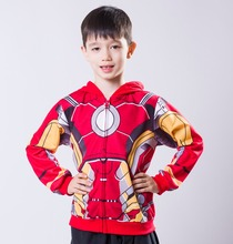 Retail 2016 New Baby Boys Iron Man Jacket Children Cartoon Kids Spiderman Hoody Clothing For 2-8 Years Old Free Shipping