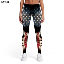 KYKU Skull Leggings Women Black Leggins Graffiti 3d Print United States Printed pants Usa Sexy Womens Pants Casual