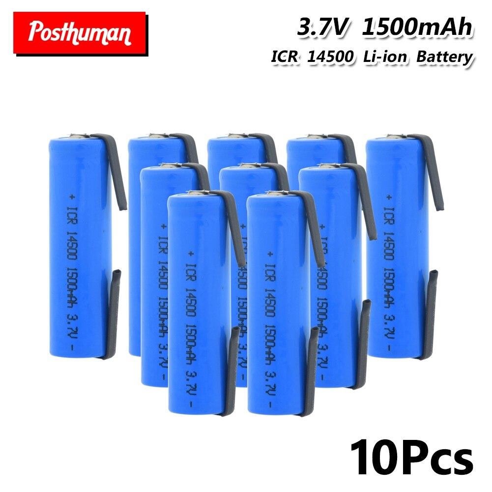 Литиевая батарея ICR 14500, 3,7 в, 1500 мАч, перезаряжаемые батареи, сварочный никелевый фонарь