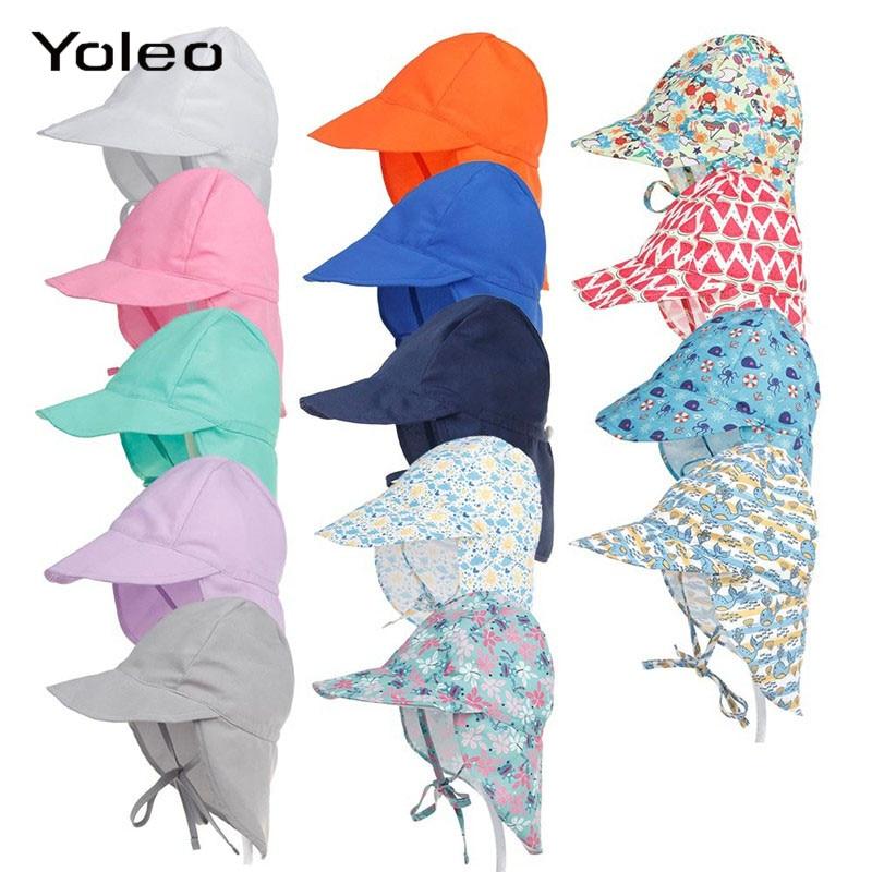Summer Baby Hat Adjustable Sun Baby Cap SPF 50+ Travel Beach Caps Baby Summer Swimming Hat for Boys Girls Kids Sun Hat(China)