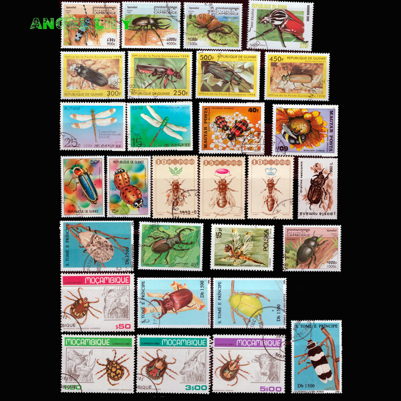 Insects , 50 PCS/LOT , All Different NO Repeat  Unused With Post Mark From The World  Postage Stamps For Collecting