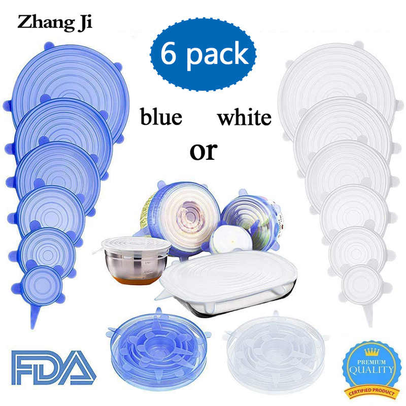 ZhangJi Silicone Stretch Lids (Set of 6) Reusable Food Container Cover Seal for Bowls Mugs Pots Microwave Freezer Jars free