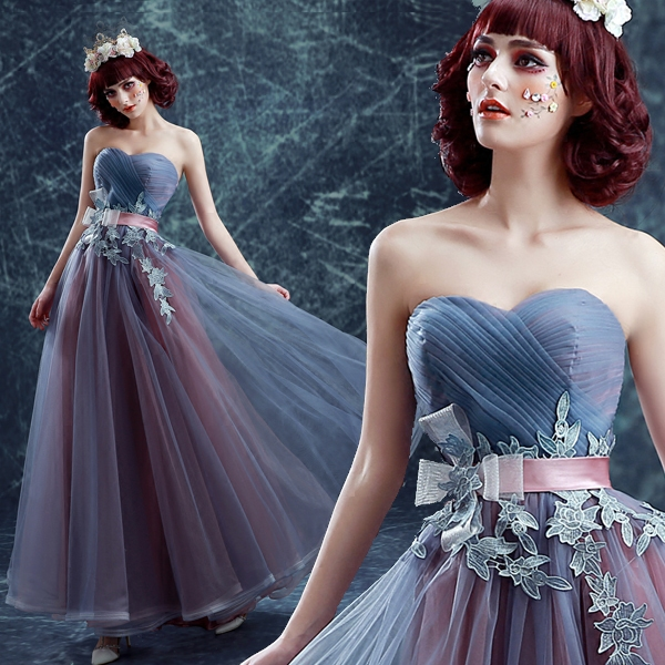 New Arrival Lively Blue Gray Sweetheart Pleated Bowknot   Prom     Dress   917