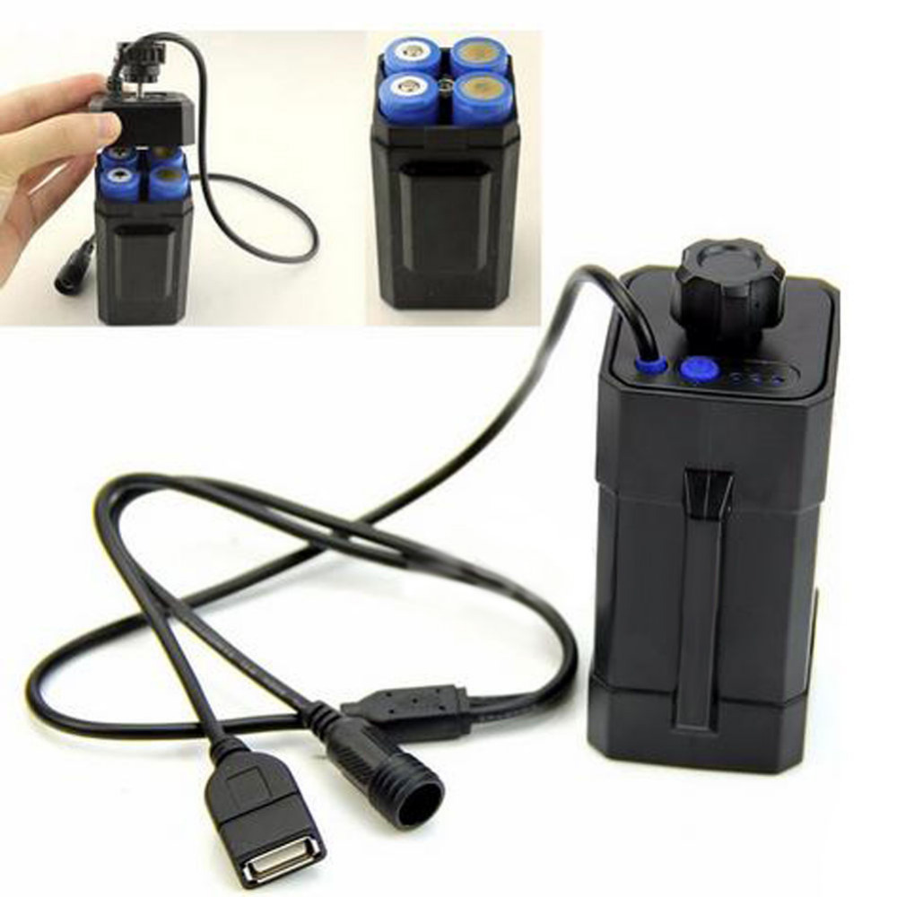 DC & USB Plug for Bicycle Light Headlight Case 4x18650 Water Battery Pack Box