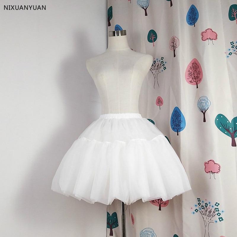 Lolita Short Petticoat Ball Gown Cosplay Underskirt No Hoops Ruffle Rockabilly Crinoline Wedding Accessories