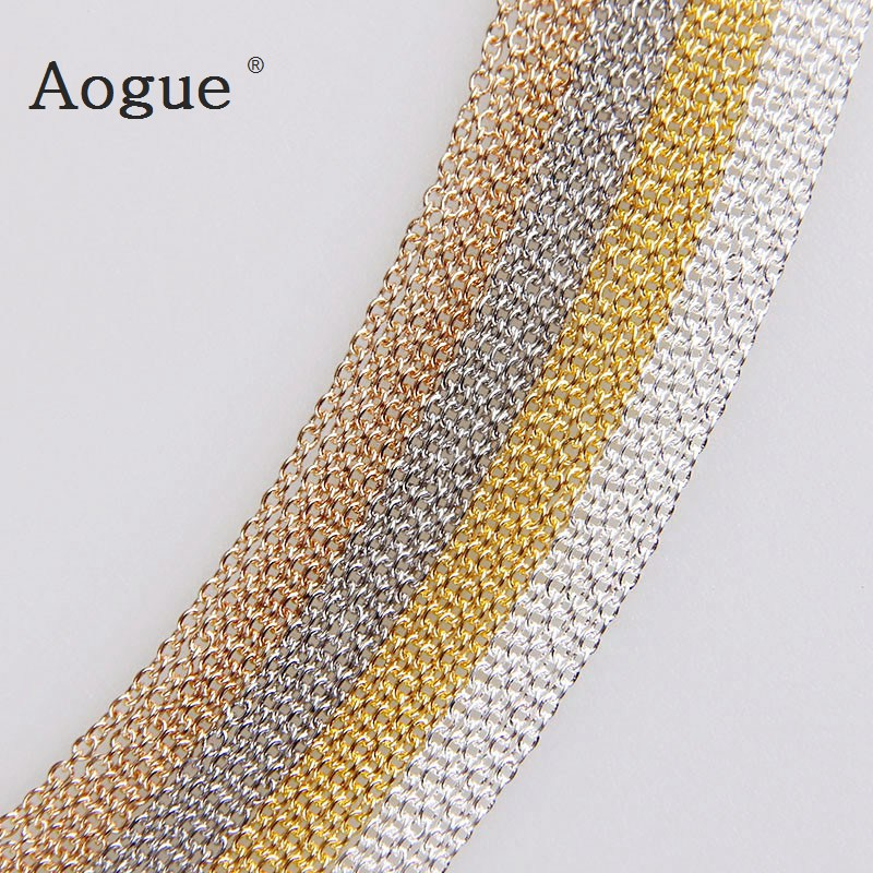 5m/lot 0.3x1.2x1.2mm  Metal Necklace Chains 4 Colors Bulk Iron Chains For DIY Jewelry Findings DIY Jewelry Accessories