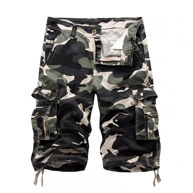2019 summer style Military camouflage cargo shorts men's casual shorts fitness cotton overalls male Knee Length beach shorts