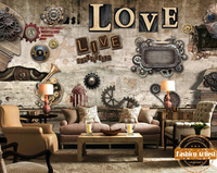 Custom vintage running gear wallpaper mural old times watch clock gear rock wall tv sofa bedroom living room cafe bar restaurant