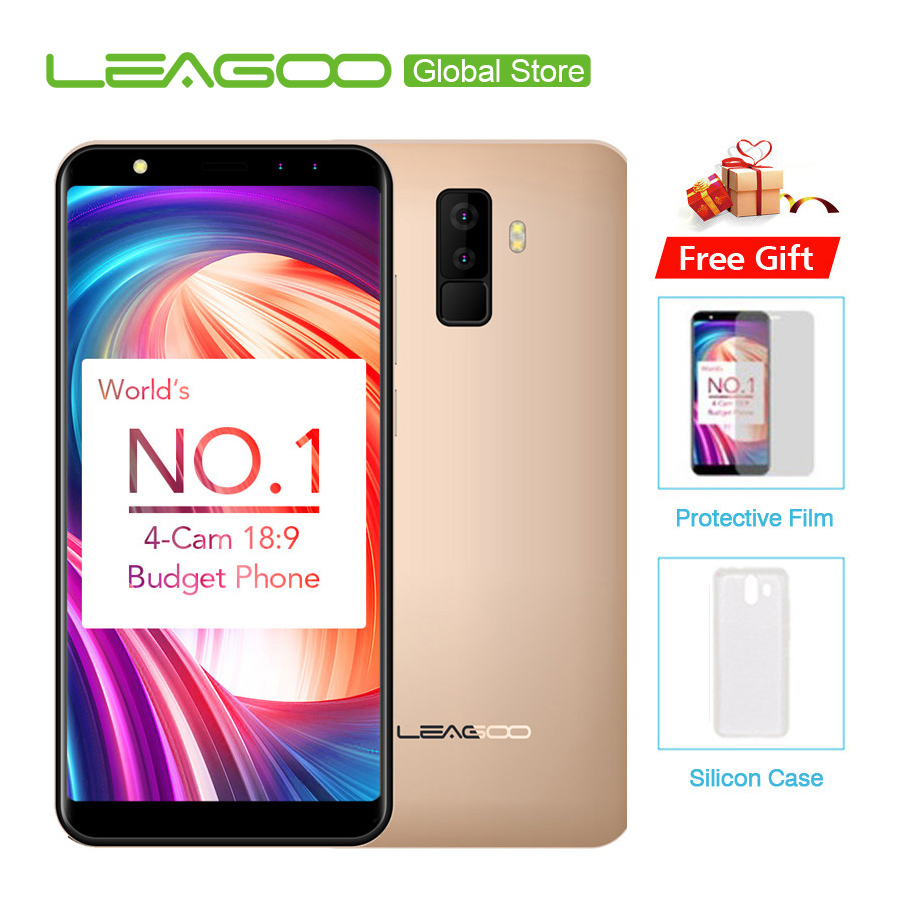 "Leagoo M9 18:9 Full Screen Four-cams Android 7.0 Mt6580a 5.5"" Quad Core 2gb Ram 16gb Rom 8.0mp Fingerprint 3g Wcdma Mobile Phone"