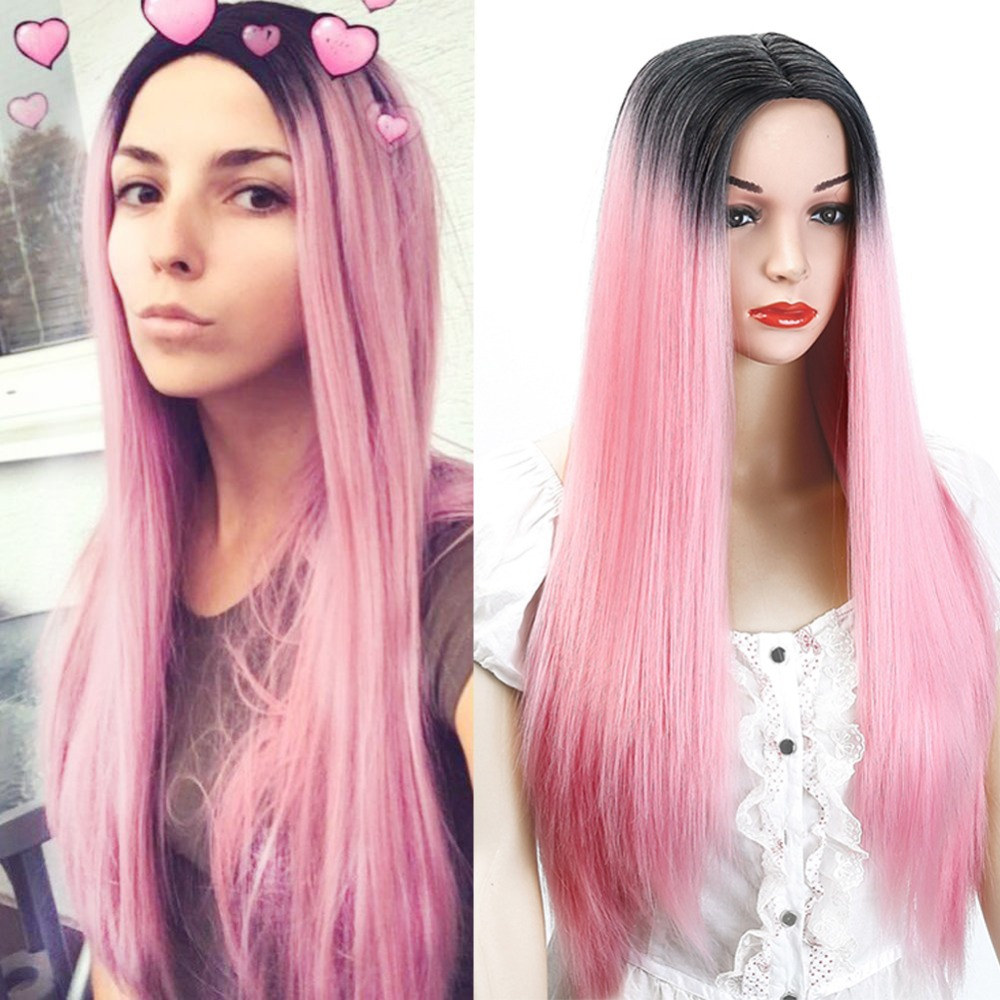 Ombre Pink Wigs Straight Long Length Wigs for Women Middle Part Wigs Dark Roots Heat Resistant Synthetic Wigs Allaosify ...