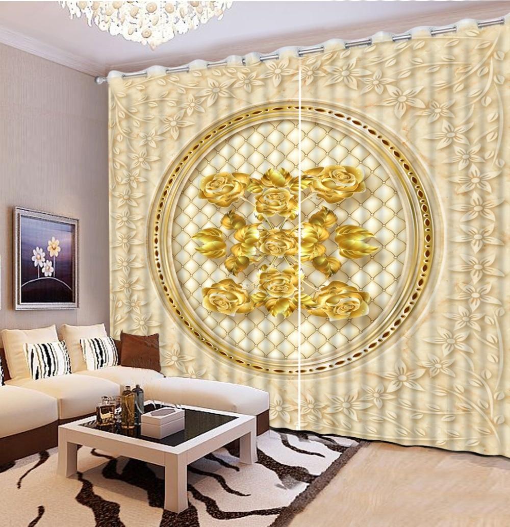 Haute qualité luxe doré rose 3D rideau Blockout salon chambre cuisine rideaux fenêtre 3d rideau décoration