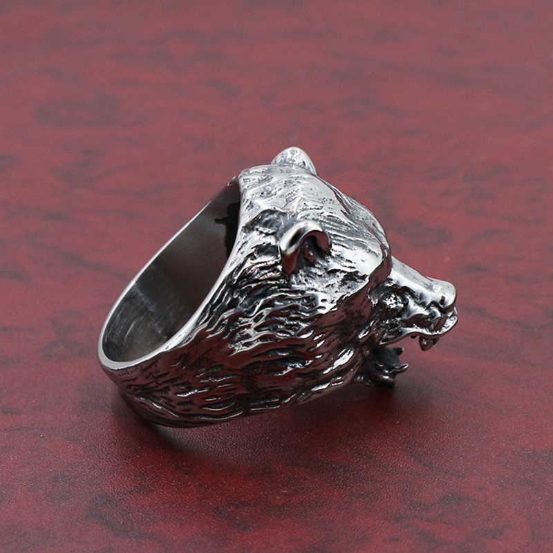 فاسق صخرة الهيب هوب السائق الفرقة الحيوان الذئب الرجال خواتم الاصبع القوطية فايكنغ حلقة الذكور فريدة من نوعها التيتانيوم الفولاذ المقاوم للصدأ القمم DCR088