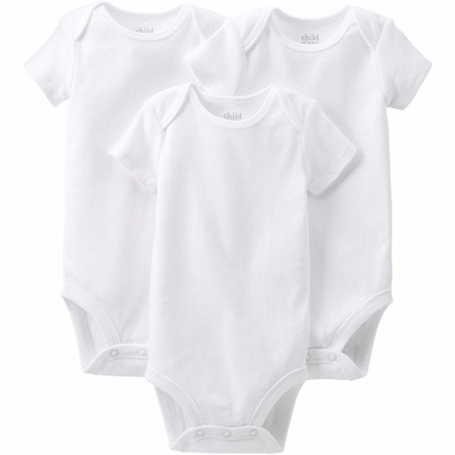 a4e44f13c2c8 3Pcs pack Short Sleeve Baby Boy Girl Bodysuits Body Clothes Newborn White  Clothes Baby Jumpsuits Infant Clothing Bebe