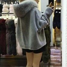 New Parker style Real Fur Coat Women Natural Sheep Shearing Fur Coat With Fox Fur Hood Long Coat Winter Women Fur Jacket