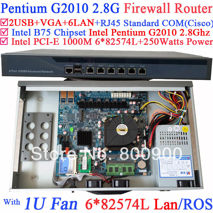 2014 new arrival router firewall 1U barebone with six intel PCI-E 1000M 82574L LAN Intel Pentium G2010 2.8Ghz Mikrotik ROS etc gigabit ethernet router barebone system with six intel pci e 1000m 82574l gigabit lan intel pentium g2020 2 9g mikrotik ros etc