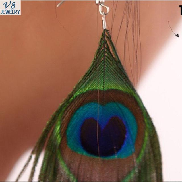 Natural Peacock feathers Long Earrings