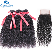 Sapphire Hair Brazilian Kinky Curly Weave Human Hair Bundles With Lace Closure Remy Brazilian Hair Weave