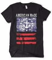 Fashion design T shirt men brand clothing new short T-shirt American Made Faded Anchor Flag loose short 100%cotton men clothing