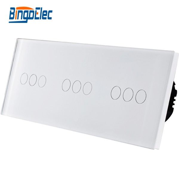 Bingo elec EU style touch switch, Normal 9gang 1way crystal glass panel touch light switch, AC110-250V Hot Sale meziere wp101b sbc billet elec w p