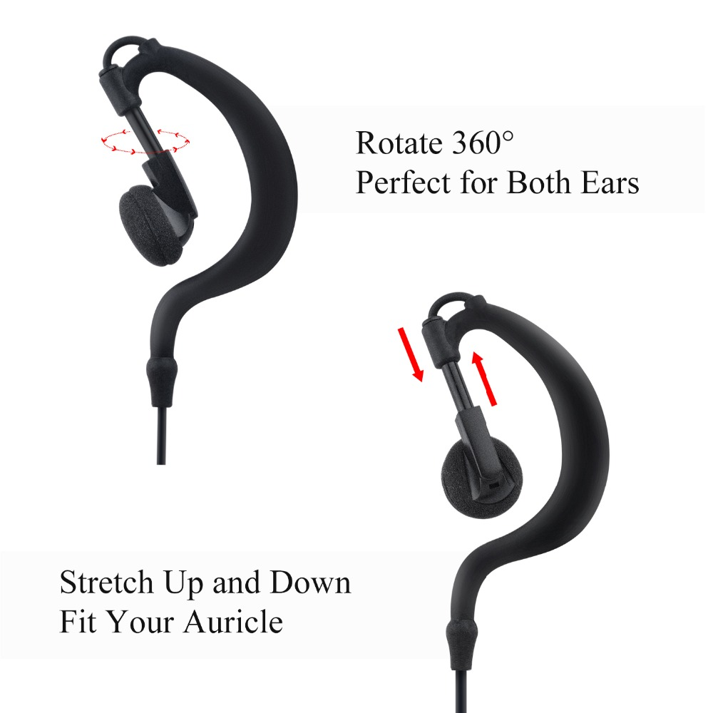 Earpiece For Walkie Talkie Earpiece Security Headset Acoustic Tube Earphone Mic Ptt Surveillance 1 Pin 2.5mm R40 Two Way Radio