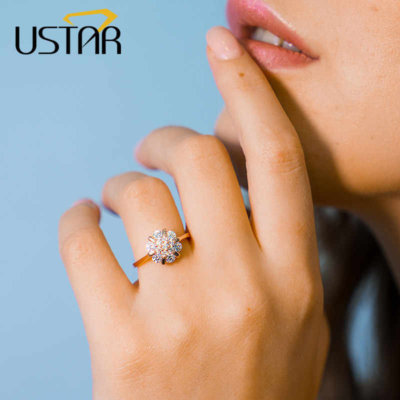 Which Hand Wedding Ring Female.Ustar Flower Zircon Wedding Rings For Women Jewelry Austria Crystals Rose Gold Color Engagement Rings Female Anel Bijoux Gift