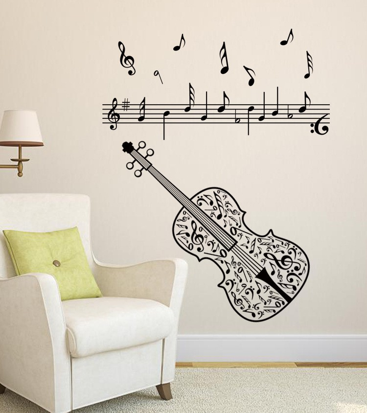M-007 Free Shipping DIY Violin Music Note Home Decor Music Wall Sticker  Removable Vinyl