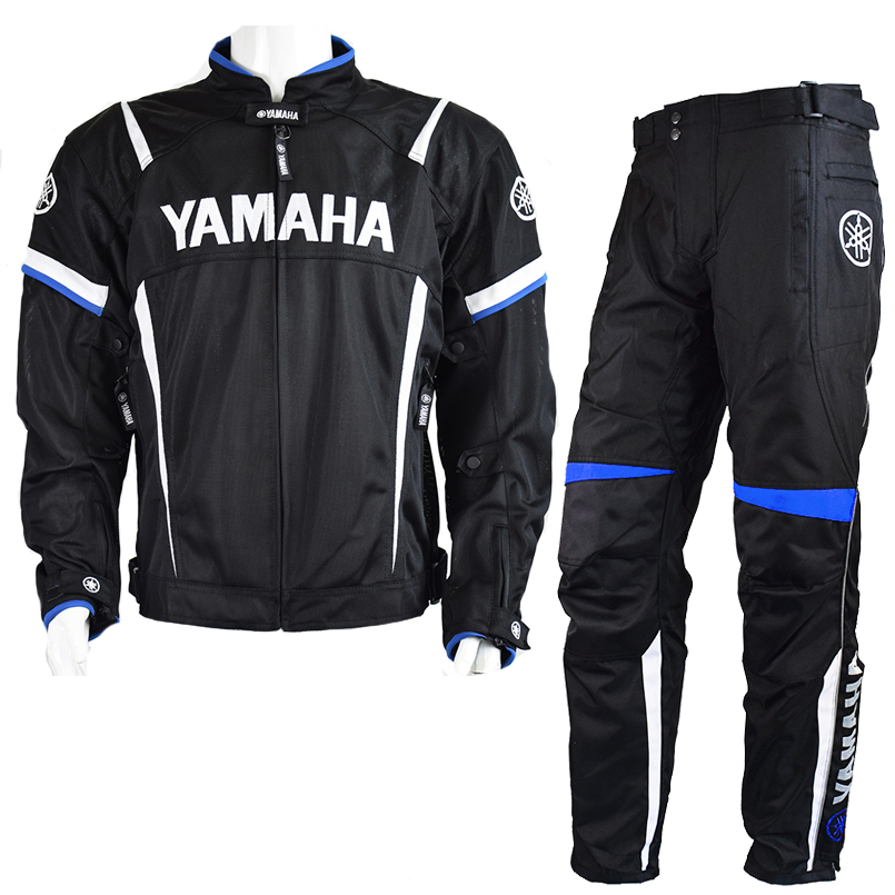 MotoGP 2018 Motorcycle Racing Jackets Pant For Yamaha Team Motorbike Jacket Blue Suit Moto GP Racing Jacket With Protector Pads moto gp 2018 summer for yamaha jacket winter motorcycle racing pants jackets for men chaqueta suit protector pads motor trousers