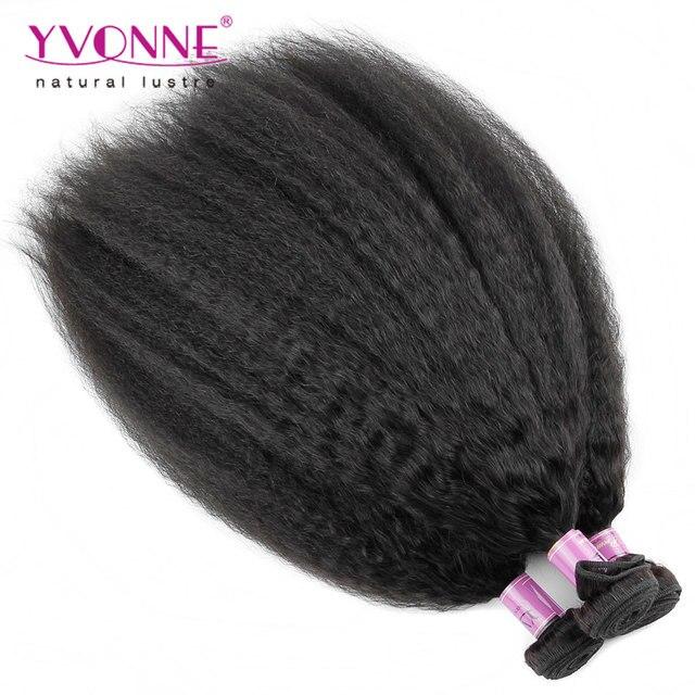 Высочайшее Качество Бразильские Волосы Курчавые Прямо Переплетения, 100% Девственных Человеческого Волоса, 2 Шт./лот Aliexpress YVONNE Волосы, Цвет 1B