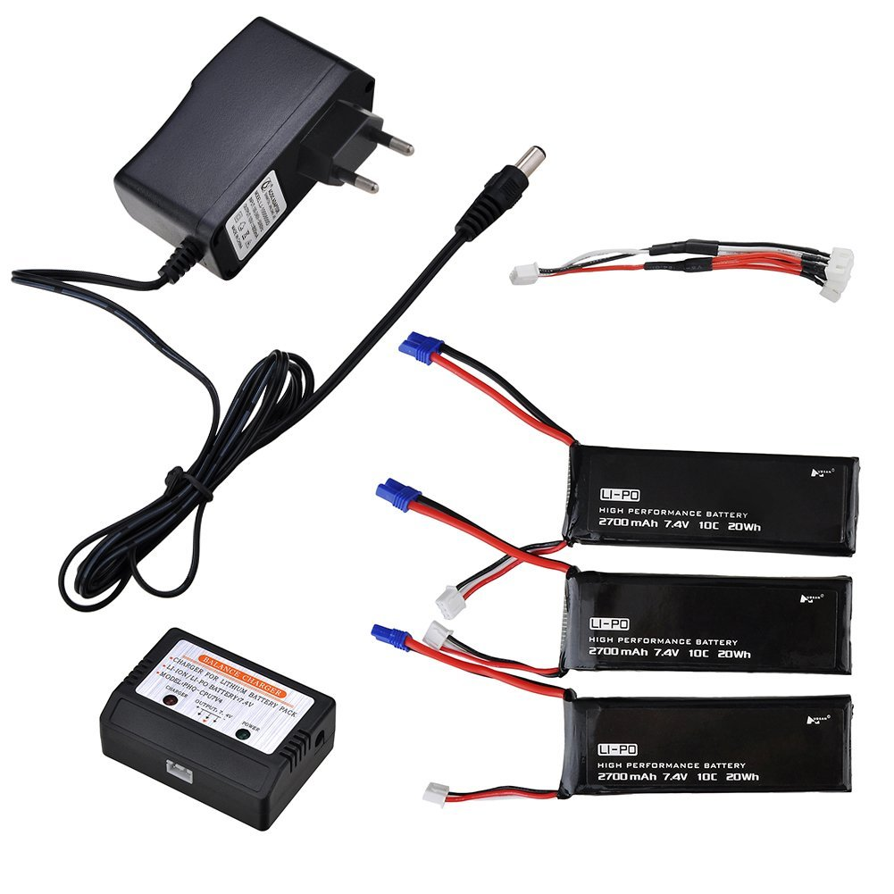 3pcs 7.4V 2700mAh Lipo Quadcopter Battery + 3 in 1 Battery Charger For Hubsan X4 FPV H501S RC Quadcopter Drone аккумулятор lipo 7 4v 2s 50с 2700 mah ori60165