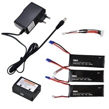 3pcs 7.4V 2700mAh Lipo Quadcopter Battery + 3 in 1 Battery Charger For Hubsan X4 FPV H501S RC Quadcopter Drone