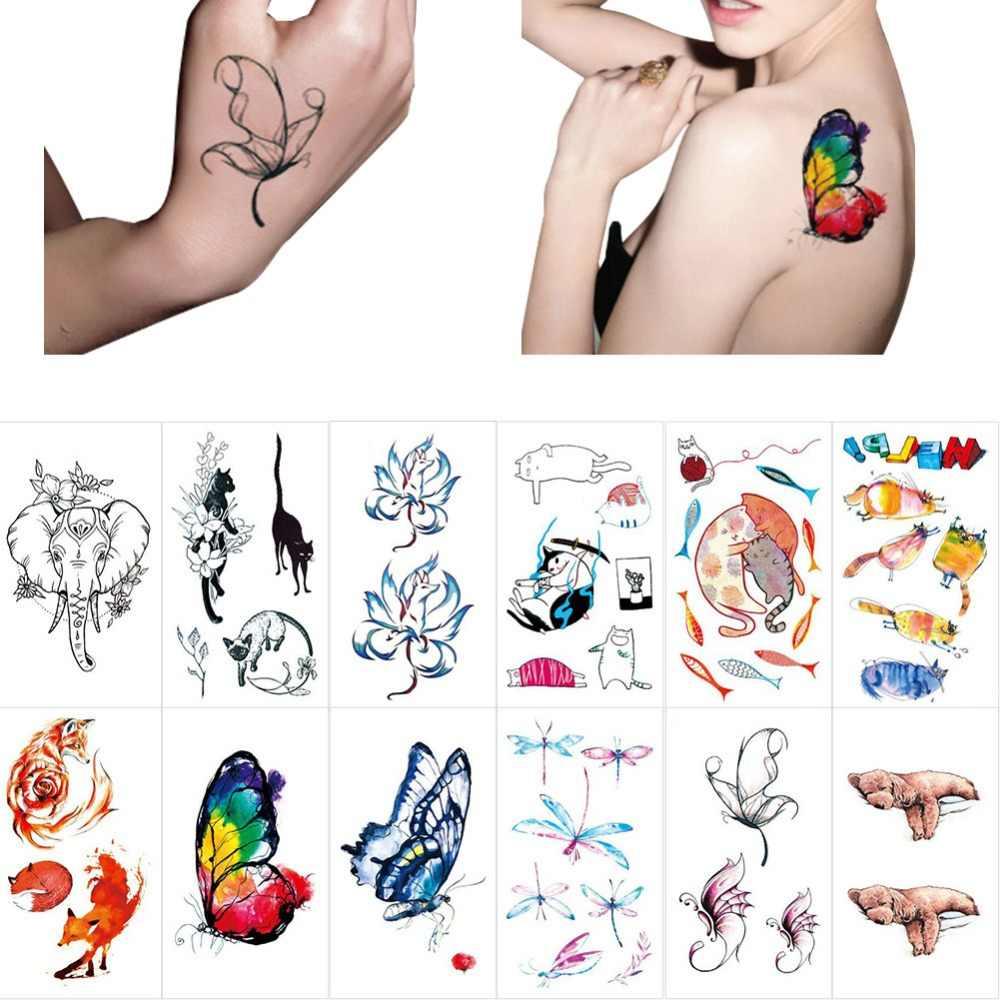 1 Copriletto Colorato Disegno Del Tatuaggio Temporaneo Donne Degli Uomini Del Corpo di Arte di Disegno Del Fumetto Autoadesivo Del Tatuaggio Impermeabile Acquerello #282060