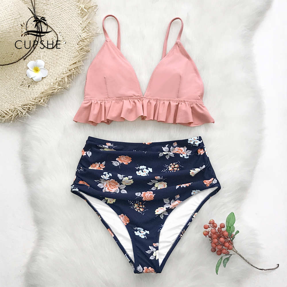 CUPSHE Pink And Floral Ruffled High-Waisted Bikini Sets Women Cute Two Pieces Swimsuits 2019 Girl Beach Bathing Suits
