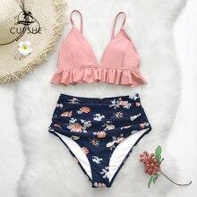 Cupshe Roze En Bloemen Ruches Hoge Taille Bikini Sets Vrouwen Leuke Twee Stukken Zwemkleding 2020 Meisje Strand Badpakken